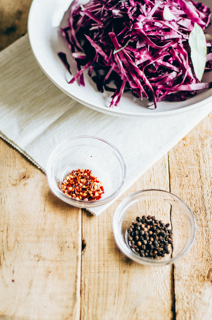 Quick pickle red cabbage. A great way to use that leftover cabbage and spice up and easy dinner. thenomadicwife.com