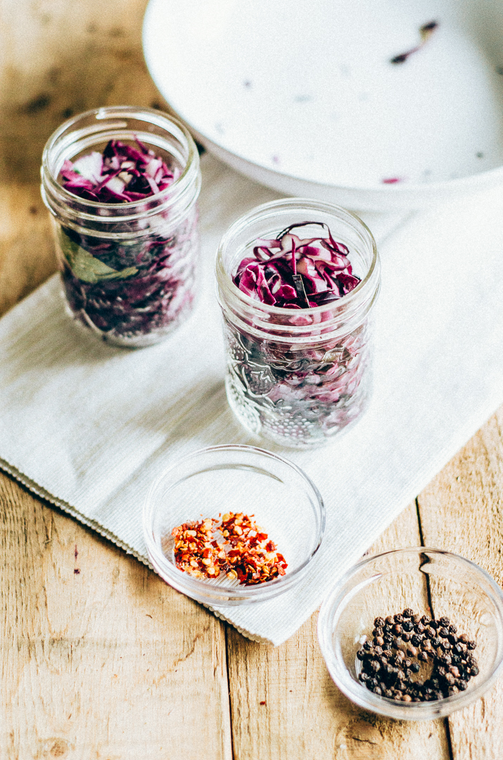 Quick and spicy pickled red cabbage. A great way to use that leftover cabbage and spice up and easy dinner. thenomadicwife.com