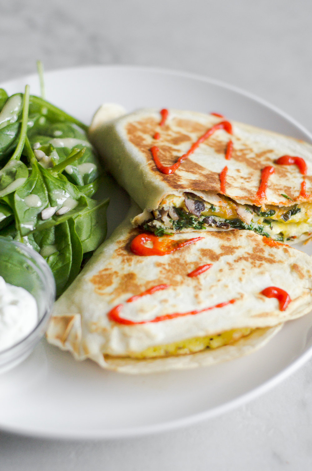 Quesadilla with spinach salad