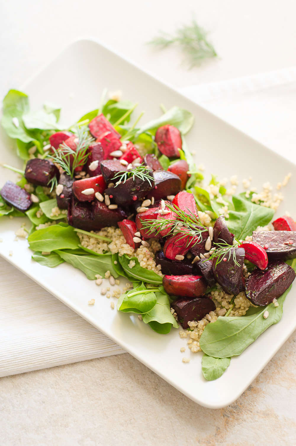 Easy beet summer salad with dill and apple cider vinegar