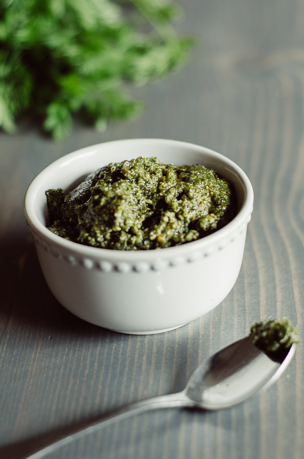carrot top pesto with grana padano and hemp hearts