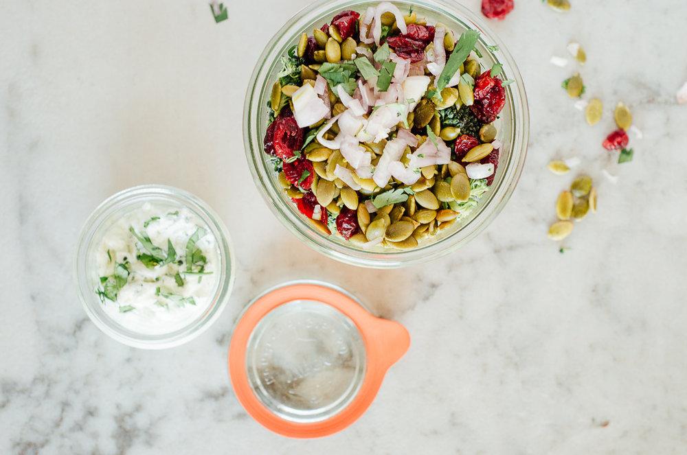 creamy broccoli & carrot salad with yogurt dressing