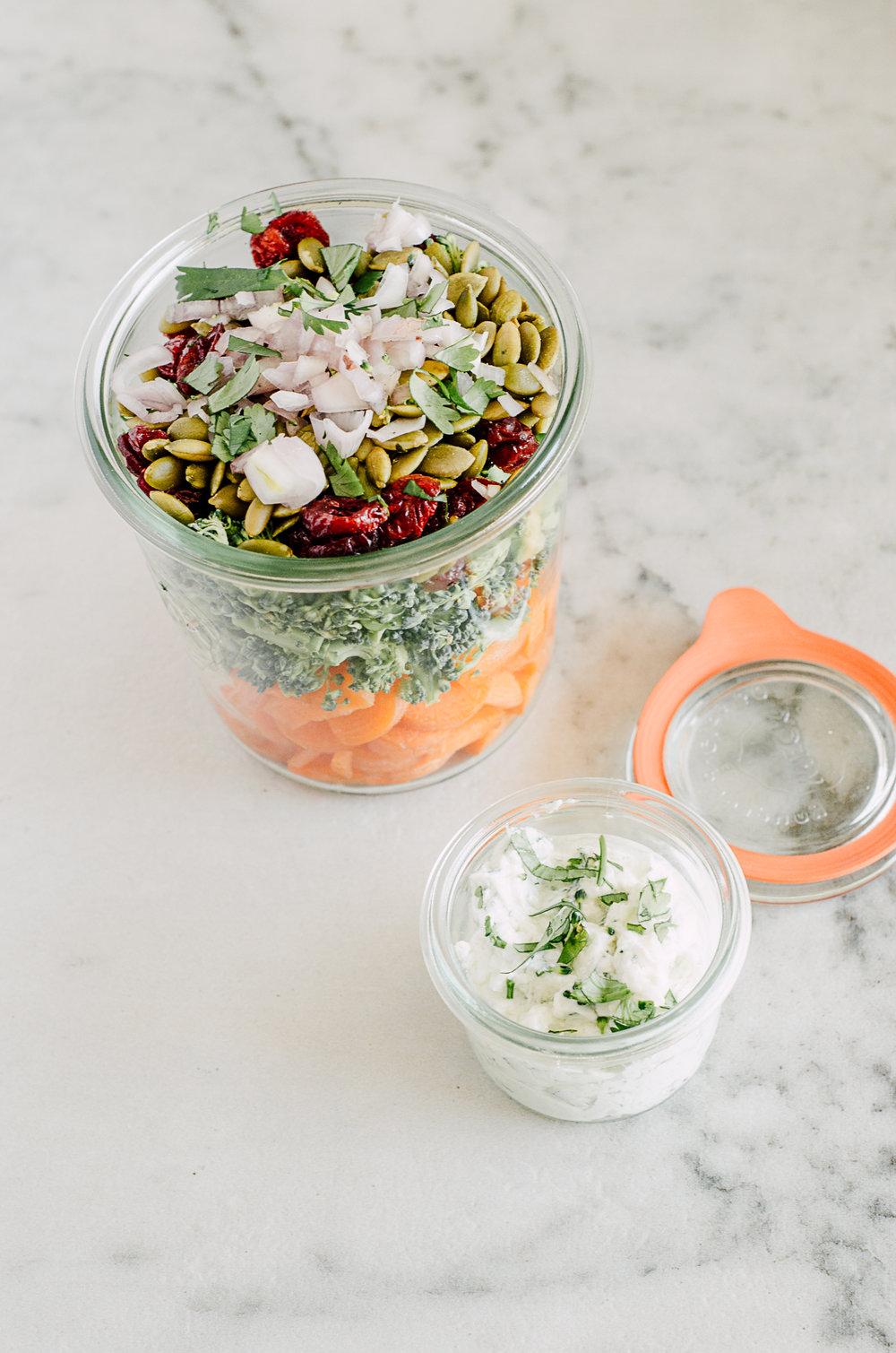 easy carrot & broccoli salad recipe with a creamy yogurt dressing - the nomadic wife