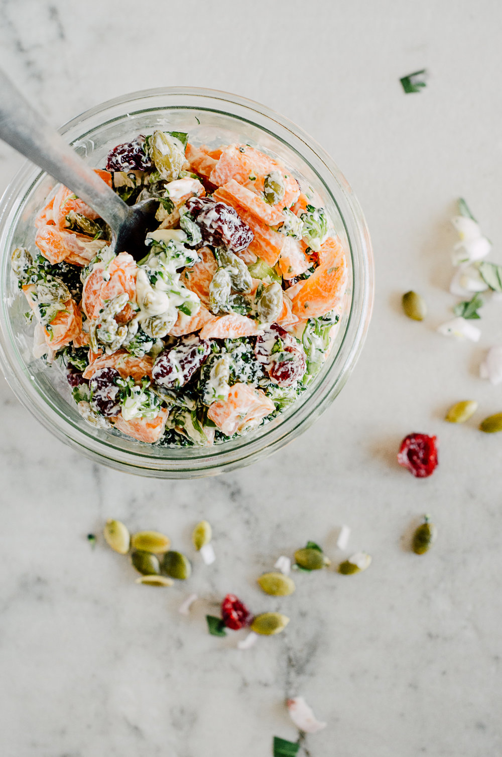 Creamy broccoli & carrot salad - the nomadic wife