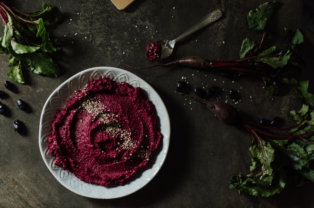 beet and haskap hummus - the nomadic wife - riverbend gardens