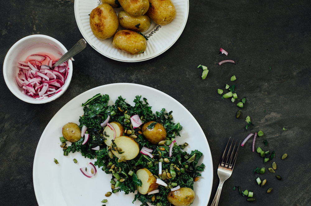 Quick-pickled kale & new potato salad