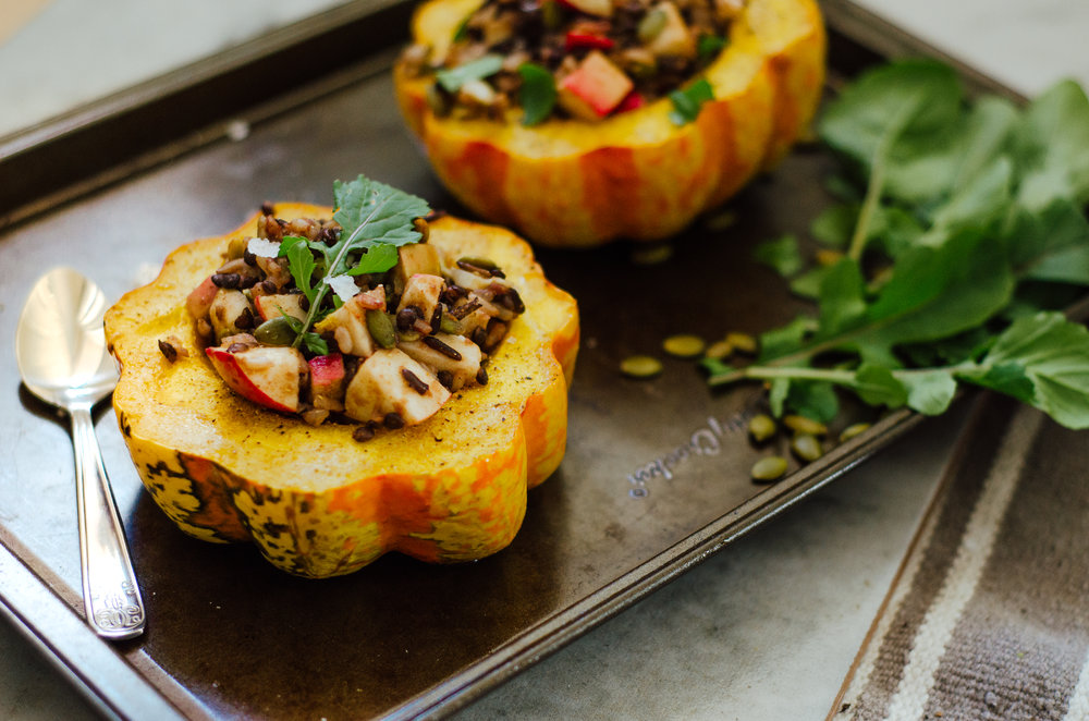 MEL × RIVERBEND: Rice & Lentil Stuffed Carnival Squash - the nomadic wife