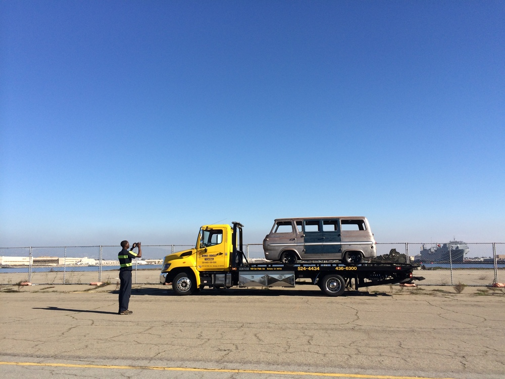 "When I've need to transport the van, I call AAA. Sometimes the drivers get really nervous about towing a ""project car"" and other times they are ecstatic. This driver was the best yet. Before we left he positioned his rig out on the runway to take photos for his daughter! ""Coolest thing I've towed!"""