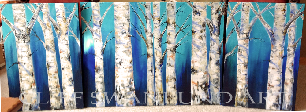 "Tri Panel Birch Trees Blue - 24"" X 36"", 36"" X 48"", 24"" X 36"" - SOLD"
