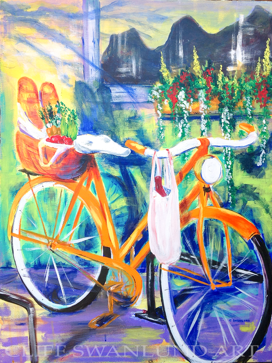 "La Bicyclette II 24"" X 30"" - SOLD"