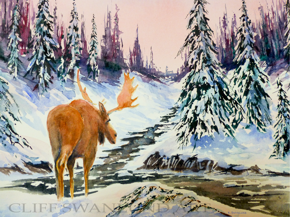 "sold- ""Wandering Moose version II"" 10"" X 14"""