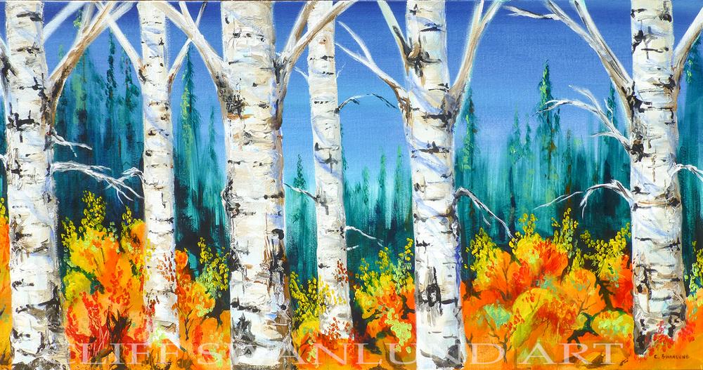 "sold-Birch Trees Fall 10"" X 14"""