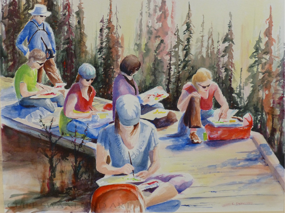 "Watercolour on the Boardwalk - 16"" x 20"" framed (on display at Bistro Market in Canmore) - $785"