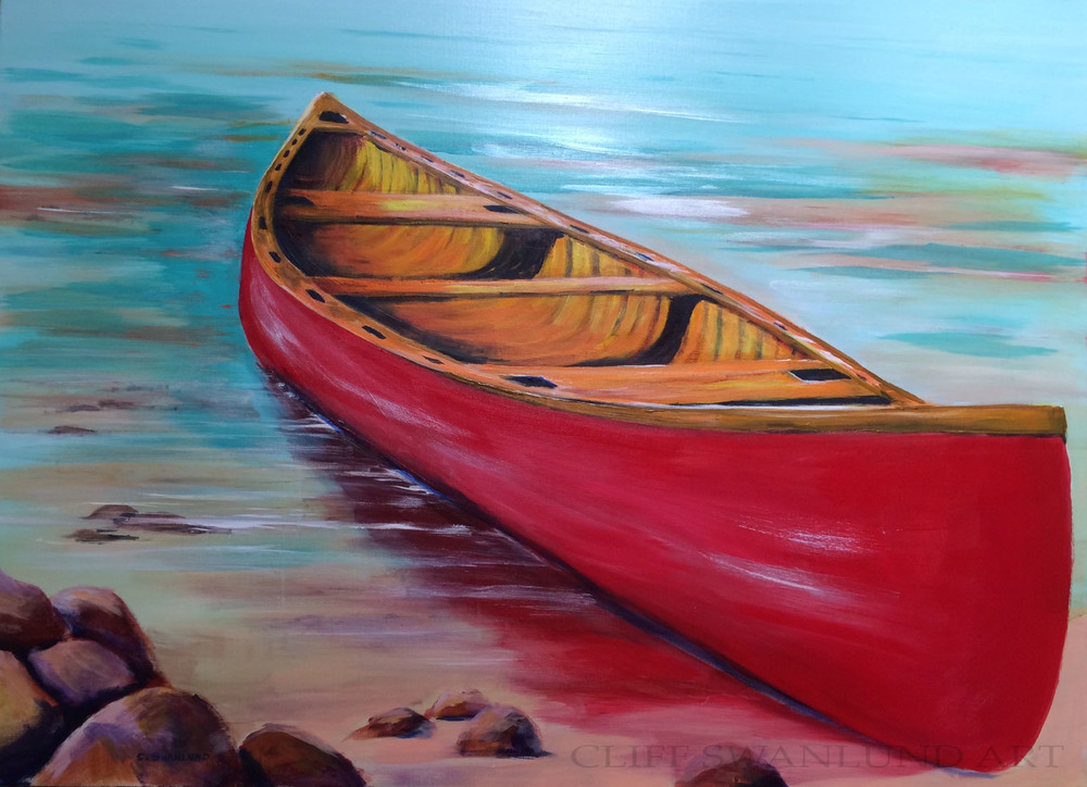 "Thoughts of Paddling - 36"" x 48"" on canvas unframed - SOLD"