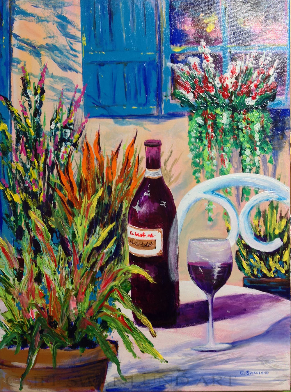 "Garden Bistro - 18"" x 24"" on canvas unframed - $600 (on display at the Market Bistro in Canmore) - $425"