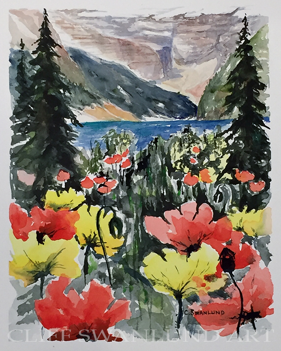 "sold-Poppies with a View - 8"" x 10"""
