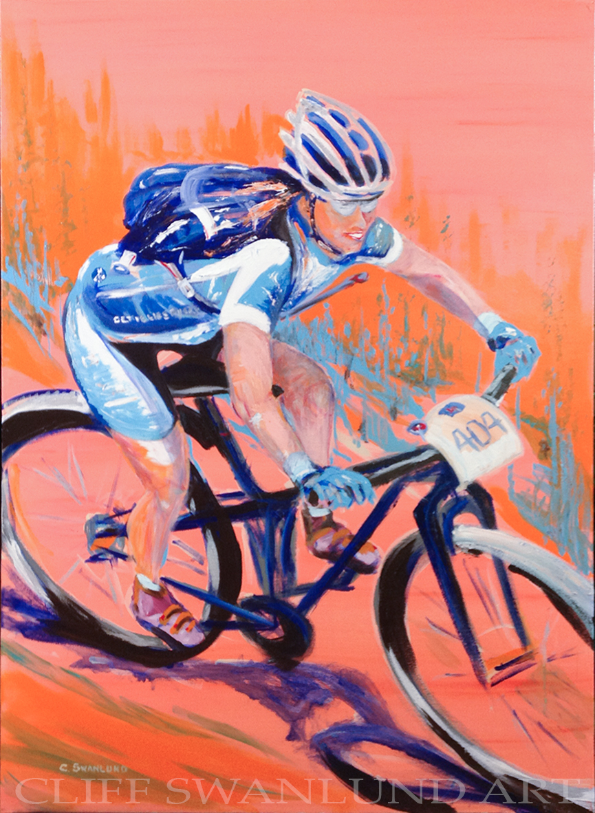 """sold -""""Single Track Race"""" - 30"""" x 40"""" on canvas -"""