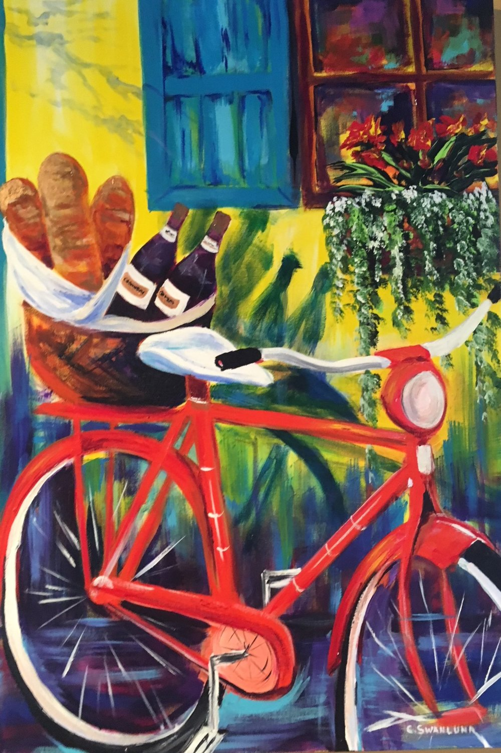 available- $900.00 - Livraison A Velo- 24 by 36 -available at The Market Bistro, Canmore Alberta
