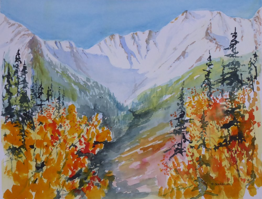 "available $565.00 framed ""White Peaks in the Bow Valley"" - 10.5"" x 13.5"" - available at Stephen Lowe Gallery, Calgary, AB"