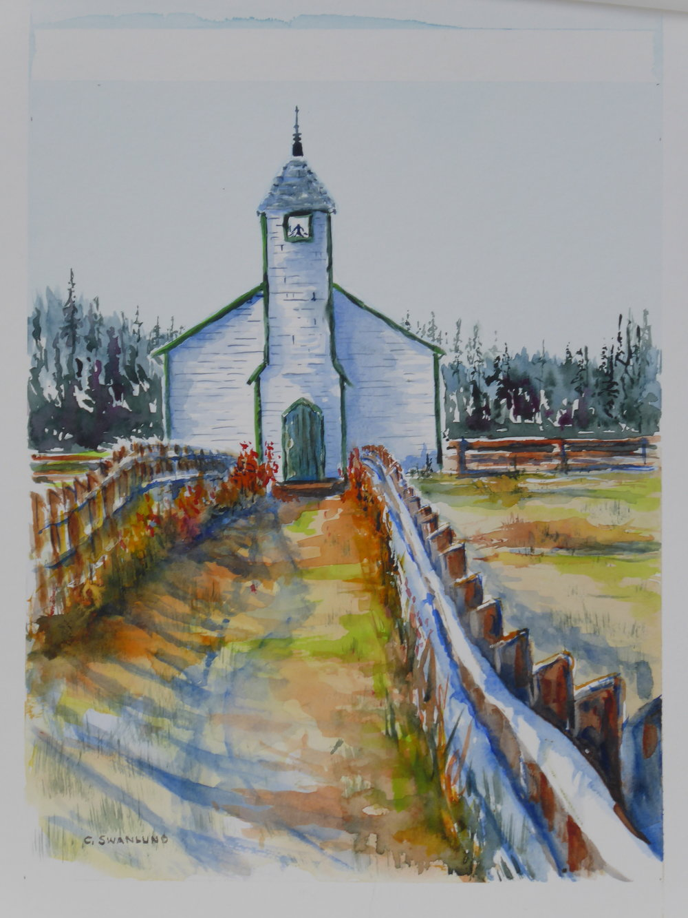 "available $565.00 framed ""Remembering the McDougall Church at Morley"" - 11"" x 14"" - available at Stephen Lowe Art Gallery"