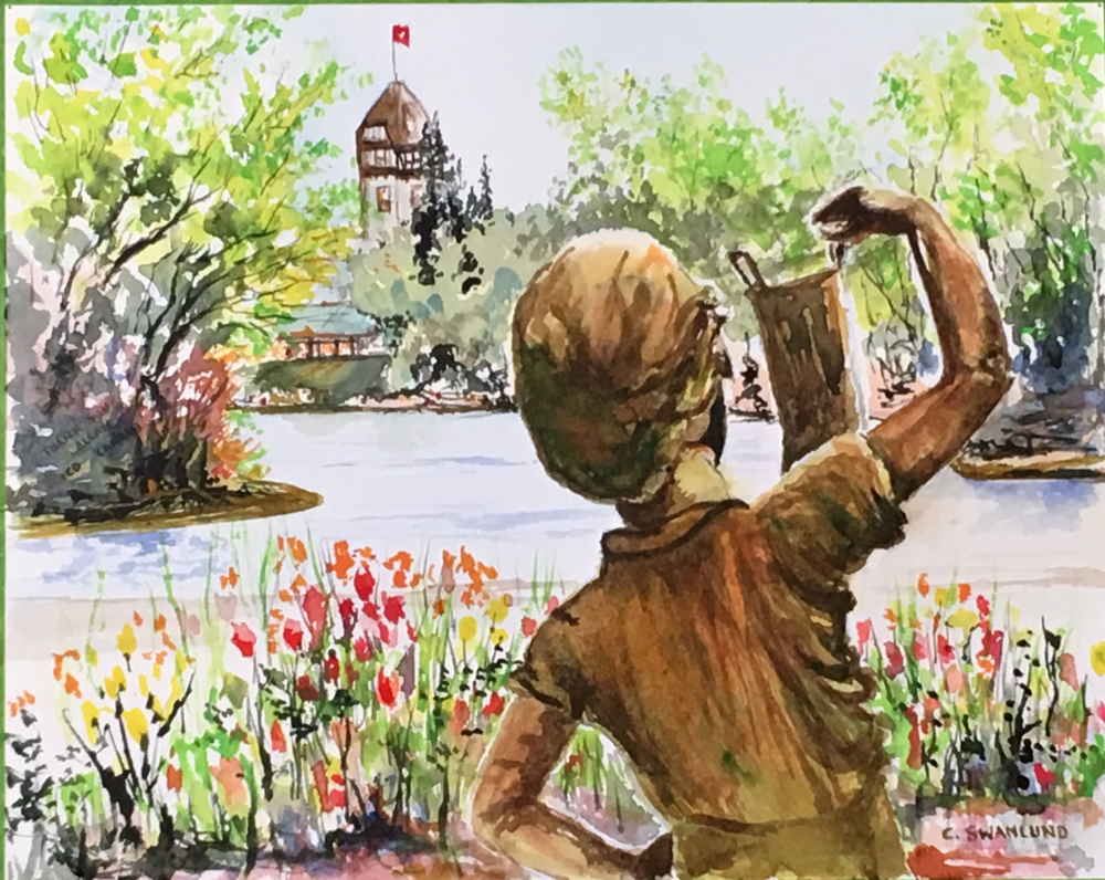 "sold- ""The boy with the boot welcomes spring""- 10 by 14"