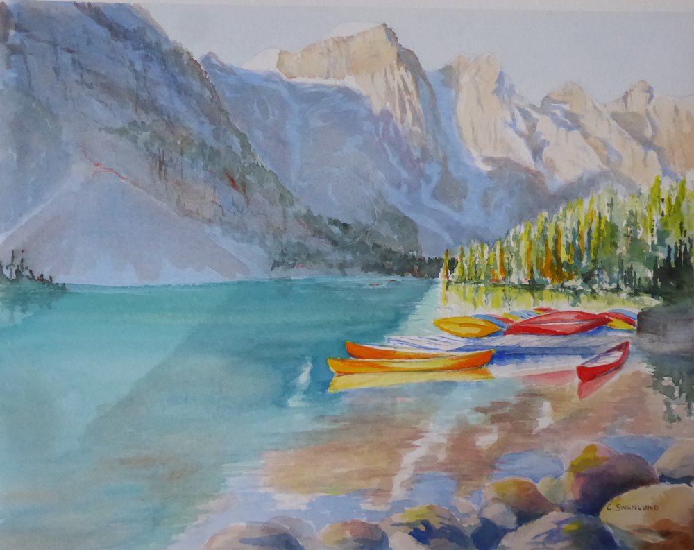 "sold- 11 by 14 - ""Awaiting the Warmth at Moraine Lake"""