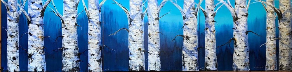 """sold-""""Past President's Grove""""- triptych 30' by 120""""- 100 past presidents names painted into the tree trunks"""