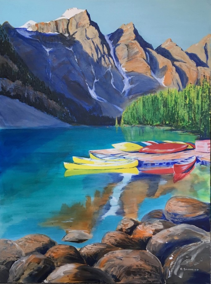 """available-$1500.00- Morning at Moraine Lake (version 2)-36"""" x48""""- available at The Market Bistro, Canmore , AB"""