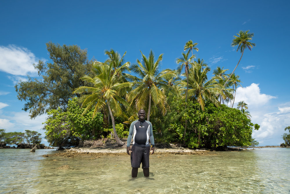 Dive instructor Brian Daga at Skull Island, The Solomon Islands.