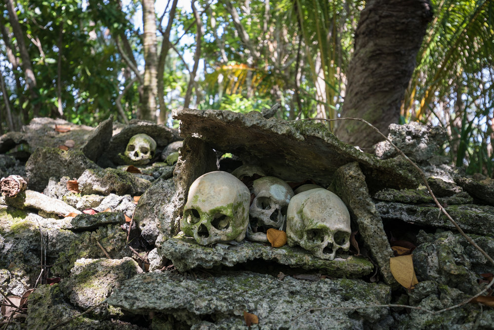 The skulls of Brian Daga's ancestors at Skull Island.