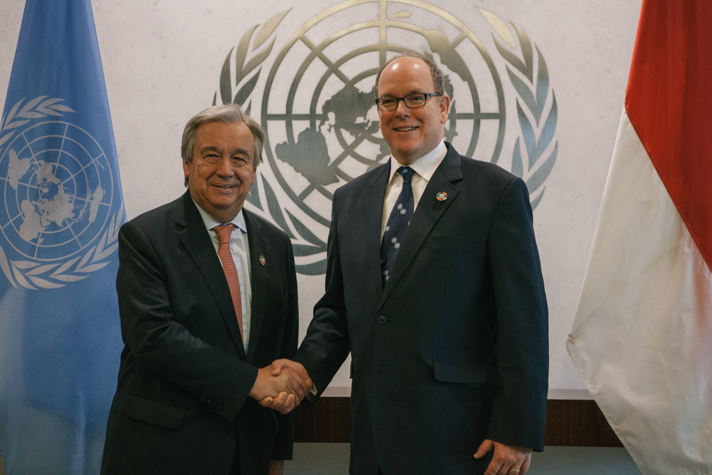 UN Secretary General António Guterres meeting Prince Albert II for the first time, June 2017.