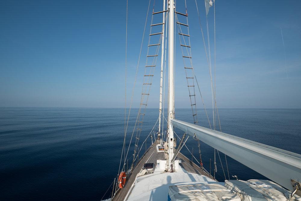 The Pelagos research vessel in the Mediterranean Sea.