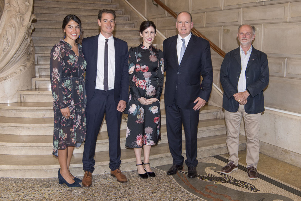 H.S.H. Prince Albert II of Monaco with the film crew - Danielle Ryan and James Sherwood film directors, Mia Grimaldi illustrator & Guiseppe Nortarbartolo Di Sciara, marine biologist © Michel Dagnino/Musée Océanographique