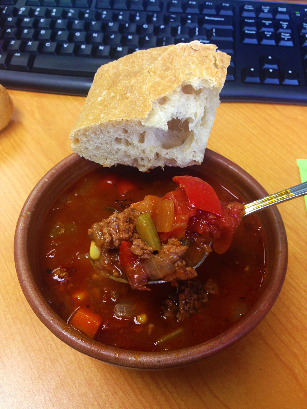chili with bread at desk.jpg