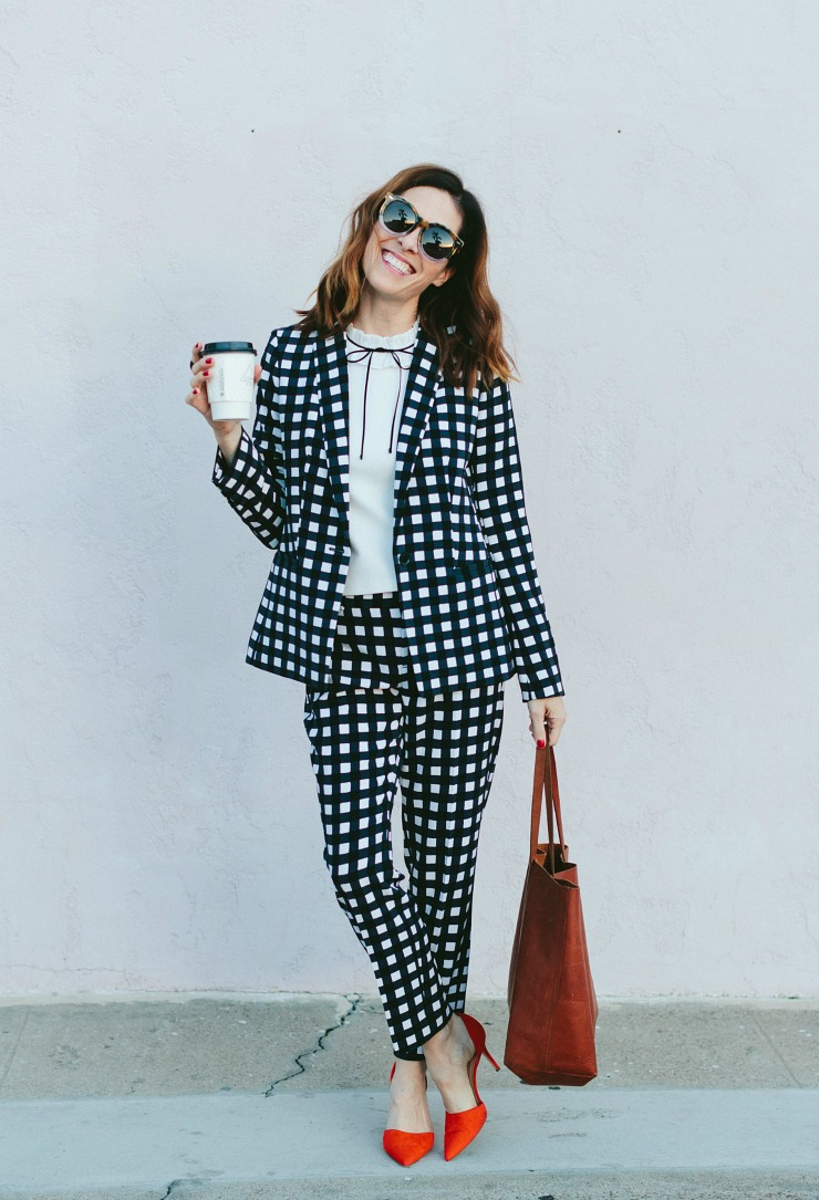 black white gingham suit outfit work banana republic conni jespersen .jpg