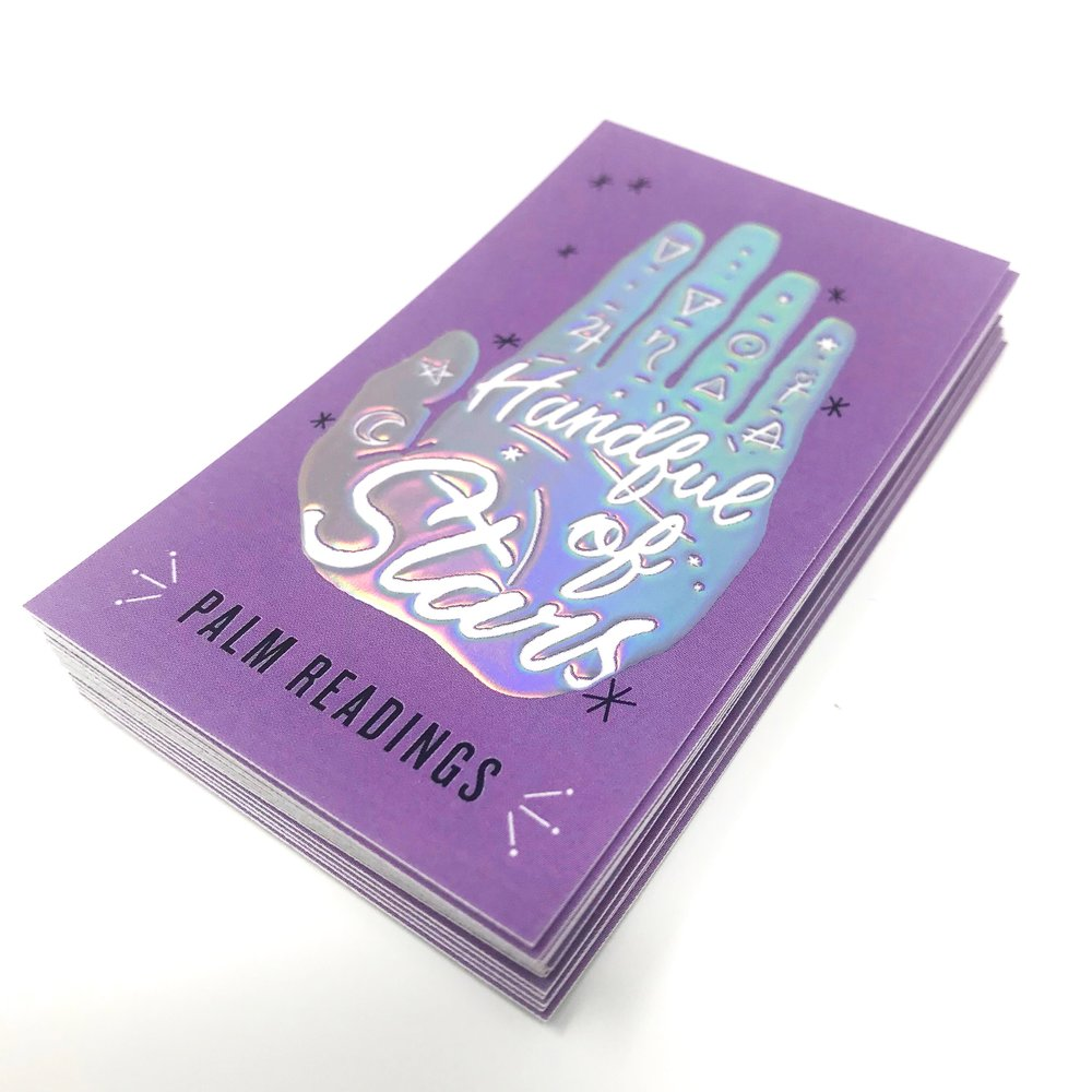 holographic business cards handful tower press close up.JPG