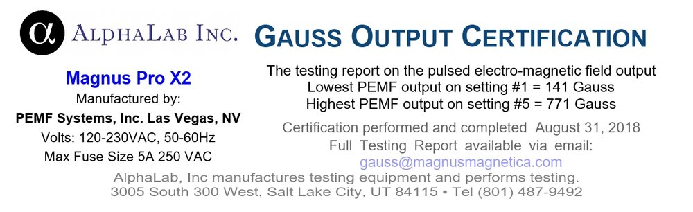 AlphaLab Gauss Certification for Magnus Pro X2