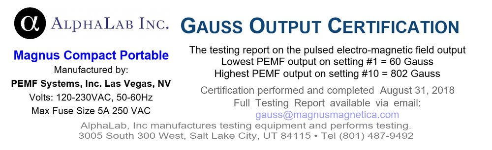 AlphaLab Gauss Certification for Magnus Compact Portable