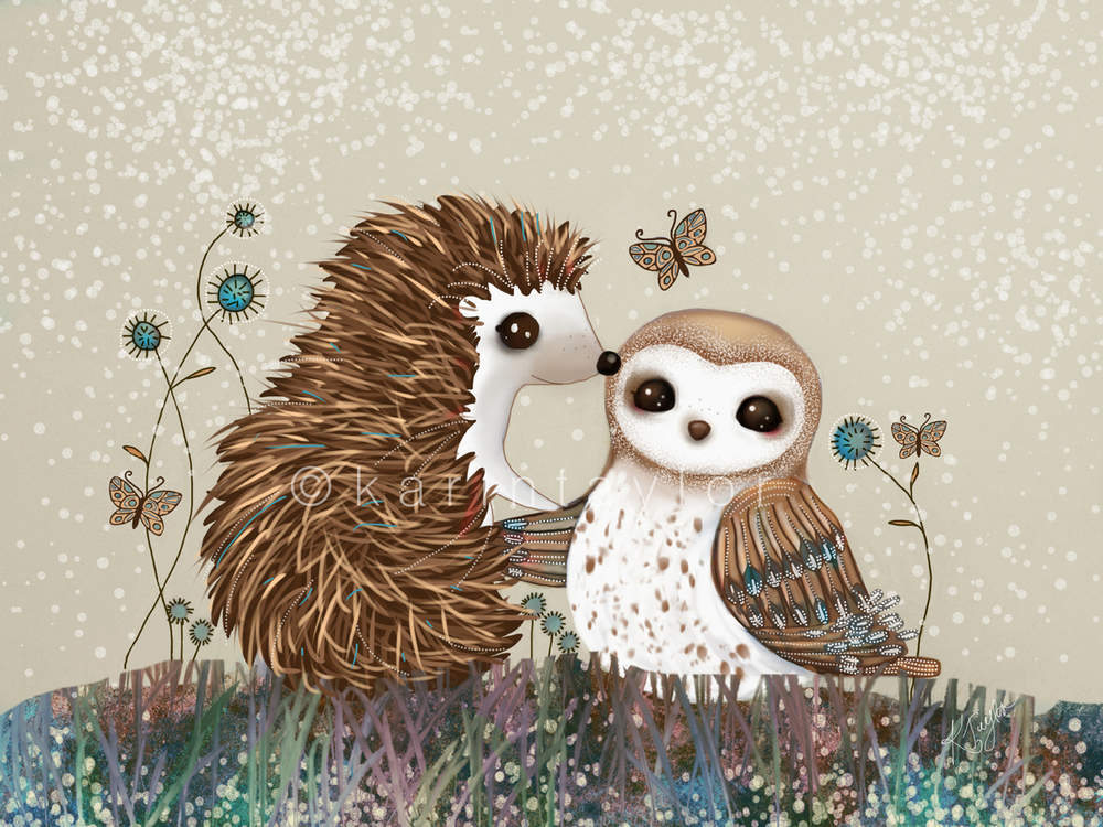 Owl and Hedgehog by Karin Taylor