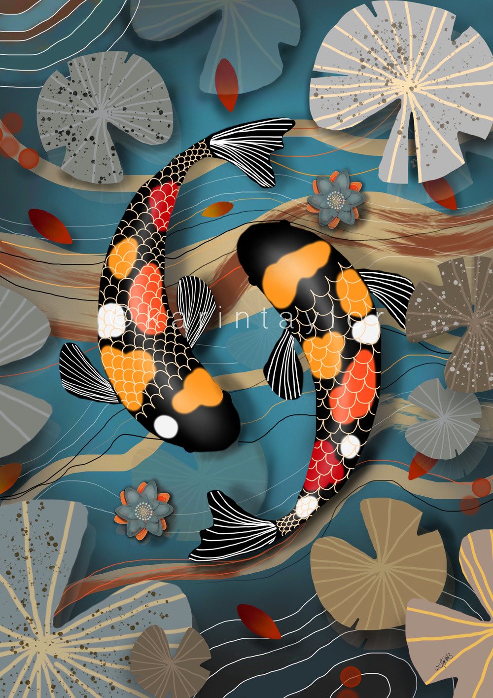 Koi Watergarden painting by Karin Taylor