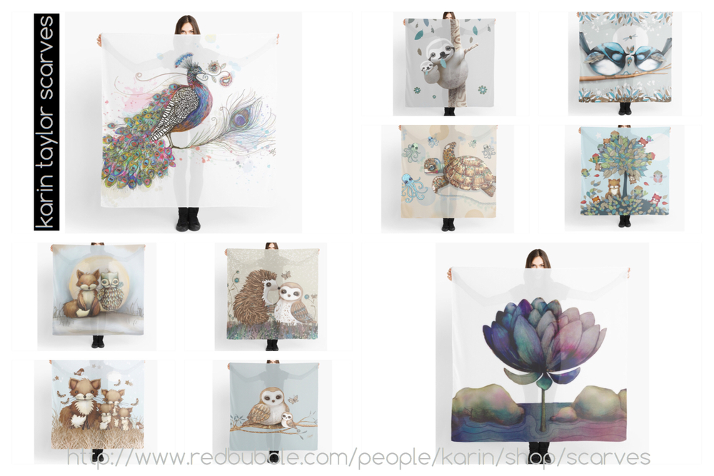 Just some of the beautiful scarves in my collection, available through my online store
