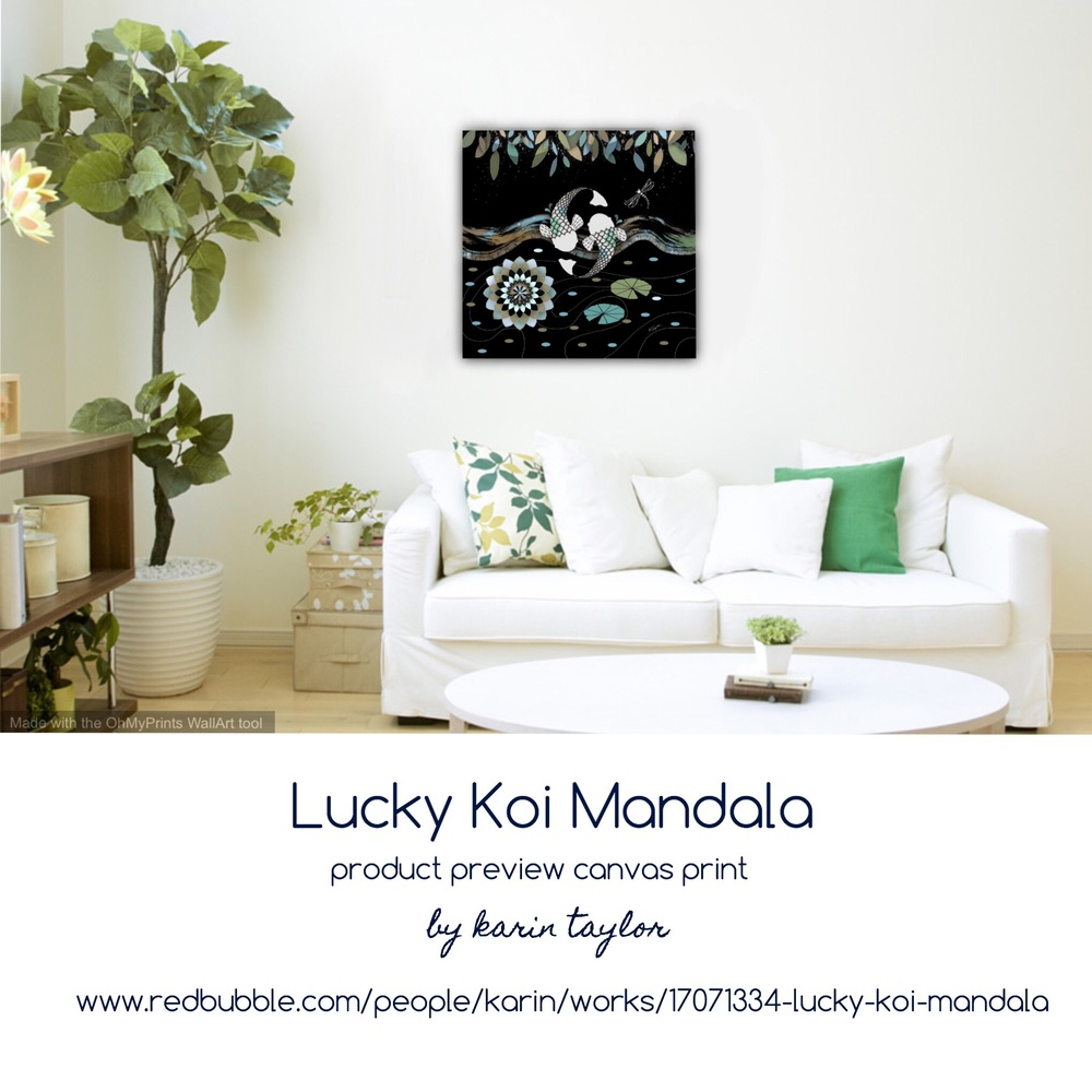 Lucky Koi Mandala prints available  here