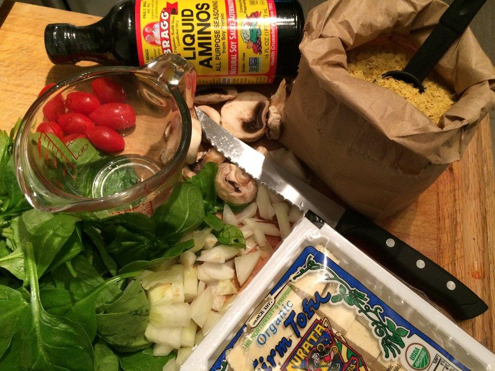 Whole, fresh vegetables, liquid aminos, nutritional yeast & organic tofu? Yum :)