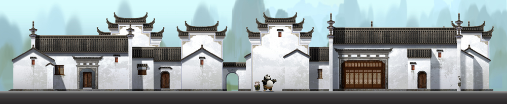 Kung Fu Panda, DWA Po's neighborhood - Building design
