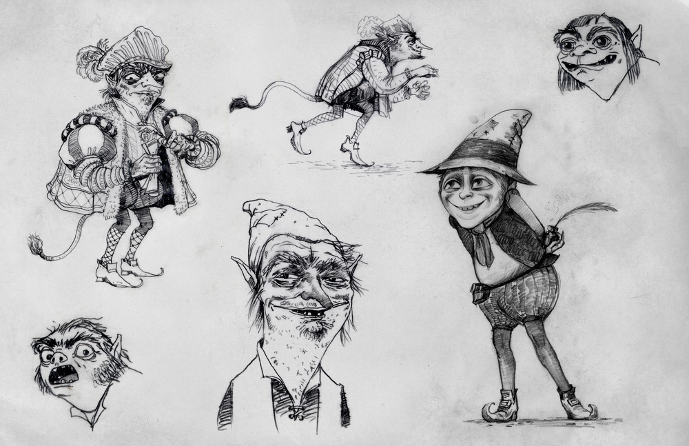 Shrek Forever After, DWA Rumpelstiltskin character design sketches