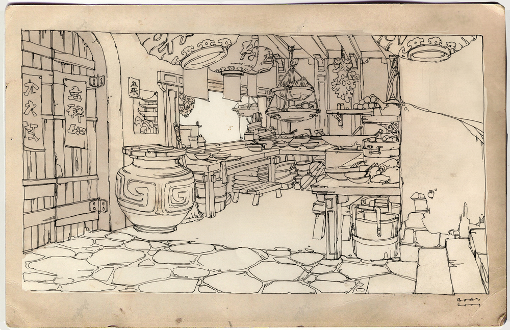 Kung Fu Panda, DWA Noodle shop design drawing