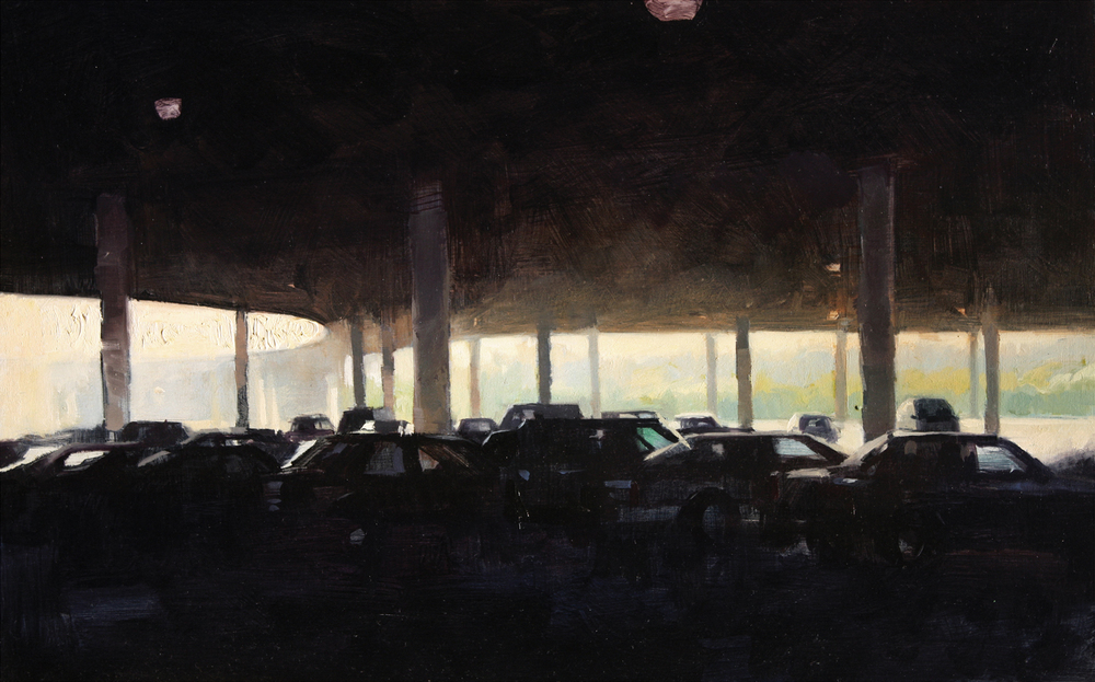 """Parking, full"" Oil on panel 10"" X 14"""