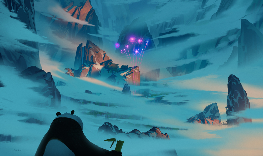 Kung Fu Panda 3, DWA Concept painting - Panda Village