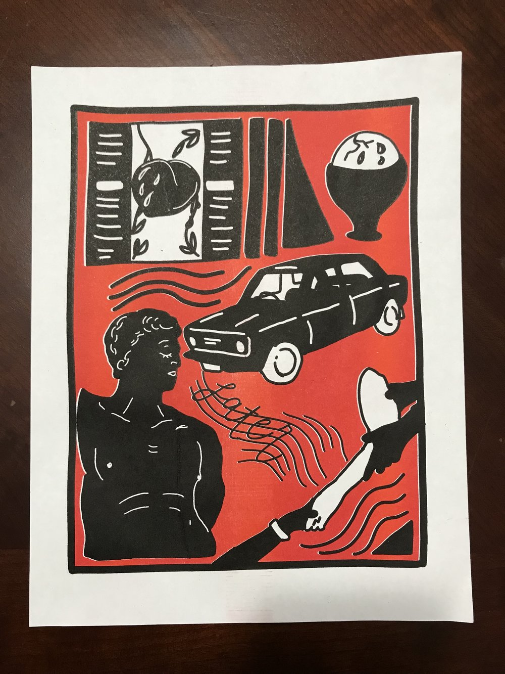 A red and black riso print by Jemimah Barba.