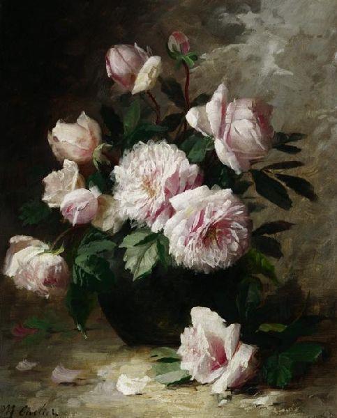 Still Life of Roses.Modeste Carlier.